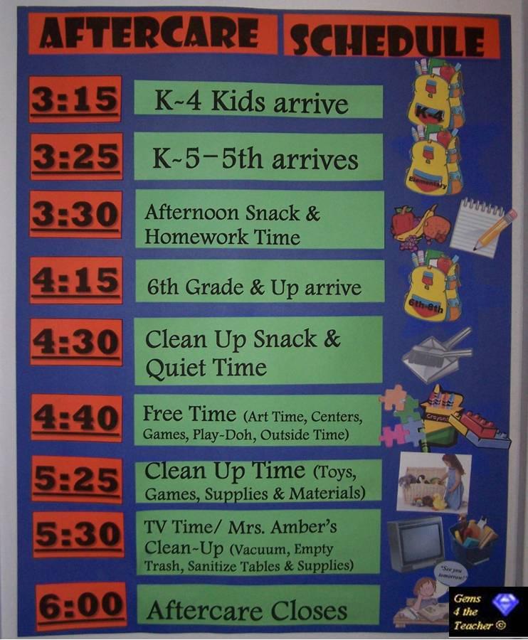 class room schedule